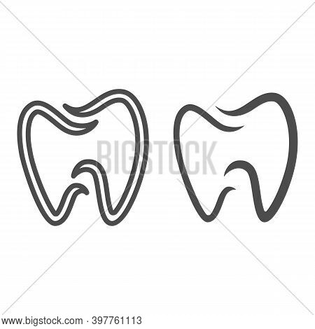 Tooth Dental Logo Line And Solid Icon, International Dentist Day Concept, Dental Care Sign On White