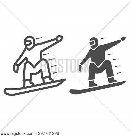 Snowboarder Line And Solid Icon, World Snowboard Day Concept, Man Snowboarding Sign On White Backgro