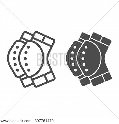 Protective Knee Pads Line And Solid Icon, World Snowboard Day Concept, Skateboarding Protective Gear