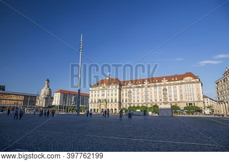 Dresden, Germany - June 05, 2013: View Of The Old Market Square In Dresden, Germany