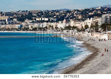 Promenade des Anglais and Beautiful Beach in Nice French Riviera France poster
