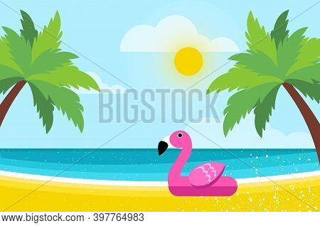 Giant Inflatable Pink Flamingo On Seashore.. Float Toy On The Sunny Beach With Sand And Crystal Clea