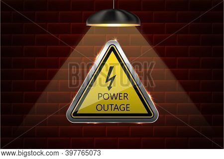 Vector Power Outage Background With Warning Sign And Dark Wall Of Bricks.