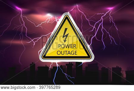 Power Outage Background With Warning Sign And Dars City Siluettes.
