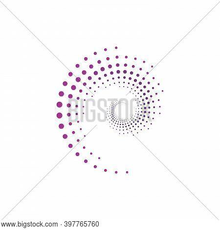 Vector Spiral Halftone Illustration . Circular Halftone Dots. Stock Vector Illustration Isolated On