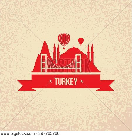 Turkey Detailed Silhouette. Trendy Vector Illustration, Flat Style. Stylish Colorful Landmarks. The