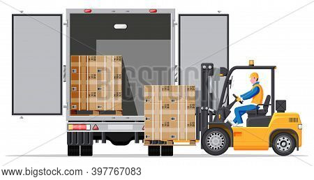 Forklift Loading Pallet Boxes Into Truck In Rear View. Electric Uploader Loading Cardboard Boxes In