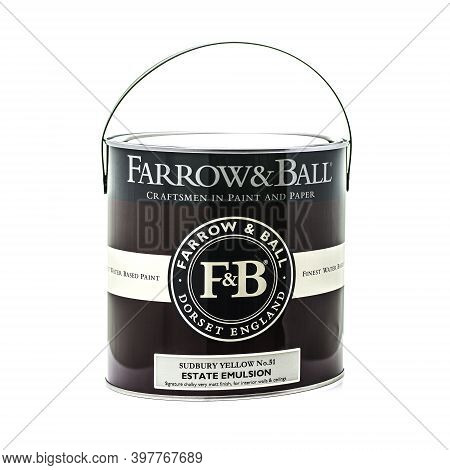 Swindon, Uk - December 3, 2020: A Tin Of Farrow & Ball Estate Emulsion Paint On A White Background