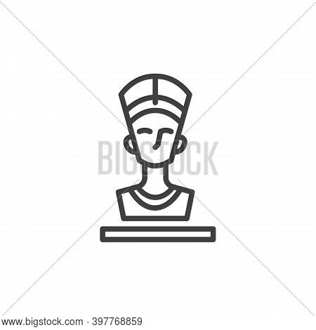 Nefertiti Queen Line Icon. Linear Style Sign For Mobile Concept And Web Design. Ancient Egyptian Que