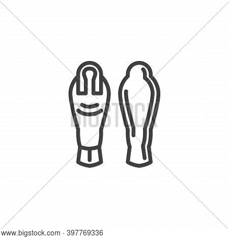 Egyptian Sarcophagus Line Icon. Linear Style Sign For Mobile Concept And Web Design. Egyptian Mummy