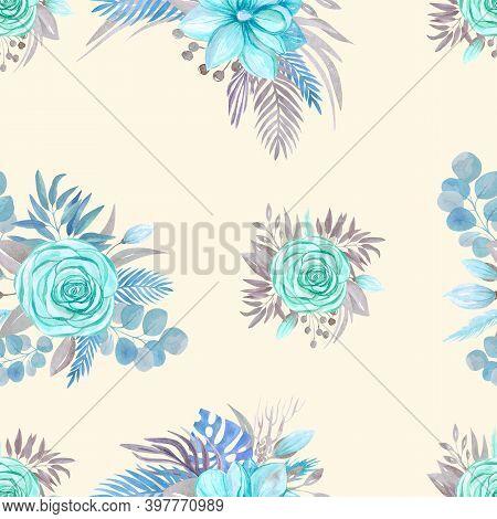 Seamless Pattern Botanical Arrangement, Blooming Magnolia, Rose On A Beige Background Flower Arrange