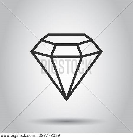 Diamond Gem Icon In Flat Style. Gemstone Vector Illustration On White Isolated Background. Jewelry B