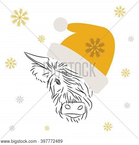 Fashionable Modern Bull Wearing A Christmas Yellow Hat With Bubo. Vector Illustration.