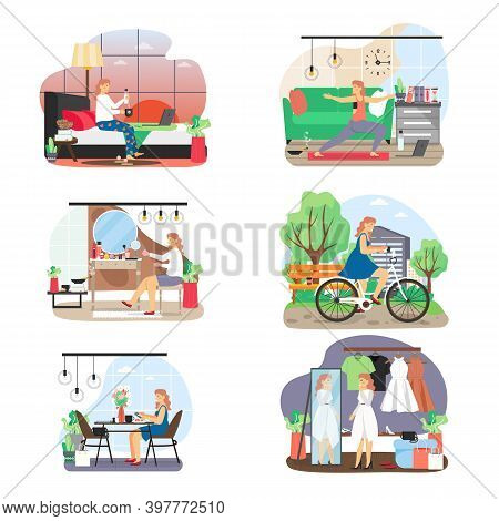 Woman Daily Life Set, Flat Vector Illustration. Daily Morning Routine, Everyday Activities, Healthy