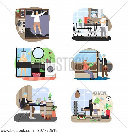 Man Daily Life Set, Flat Vector Illustration. Daily Morning Routine, Everyday Activities, Healthy Li