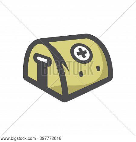 Field Hospital Medical Tent Vector Icon Cartoon Illustration
