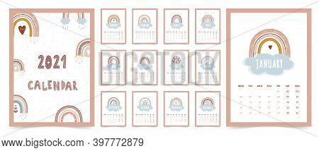 Cute Calendar 2021 With Boho Rainbow For Children. Cartoon Vector Illustration. Template In Scandina
