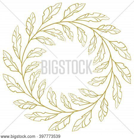 Gold Foliate Frame; Vector Round Wreath For Greeting Cards, Posters, Banners, Invitations.