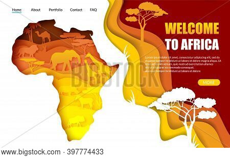 Welcome To Africa Vector Website Landing Page Template. Paper Cut Africa Map With African Wild Anima