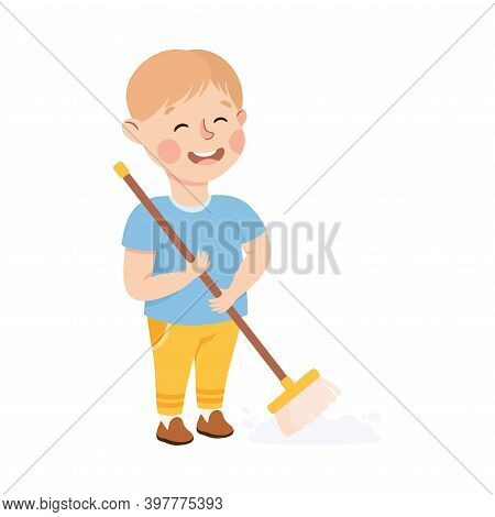 Cute Boy Sweeping The Floor, Kid Helping His Parents With Housework Or Doing Household Chores Cartoo