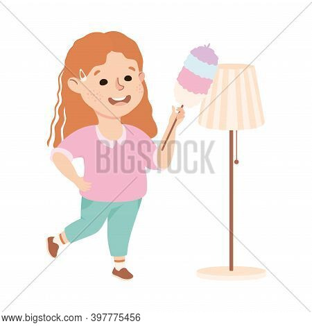 Cute Girl Cleaning Using Feather Duster, Kid Helping Her Parents With Housework Or Doing Household C