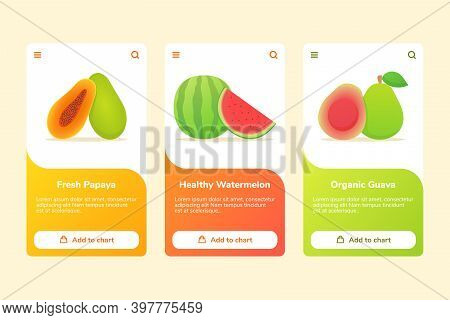 Fruits Fresh Papaya Healthy Watermelon Organic Guava On Boarding Campaign For Mobile Apps Banner Tem