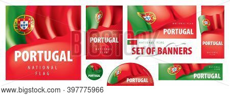 Vector Set Of Banners With The National Flag Of The Portugal