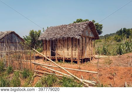 Traditional Wooden African Malagasy Hut With Roof From Straw, Typical Village In Central Madagascar.