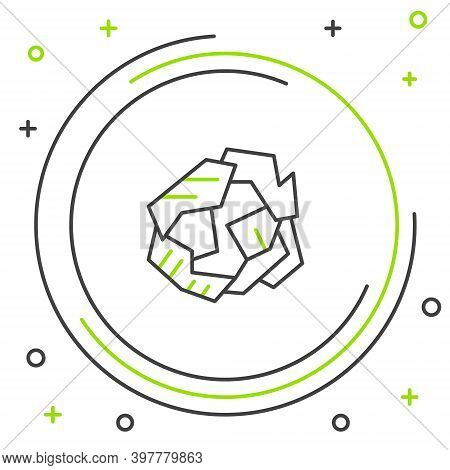 Line Crumpled Paper Ball Icon Isolated On White Background. Colorful Outline Concept. Vector