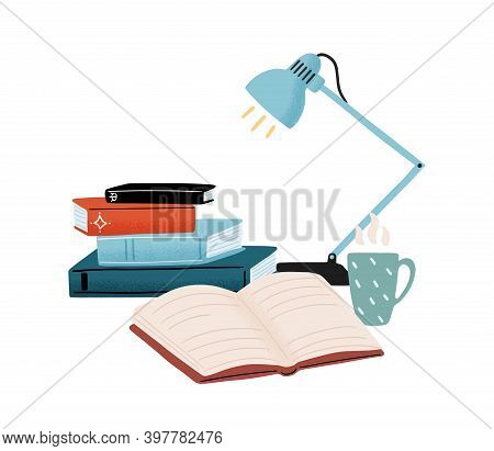 Composition With Stack Of Books, Table Lamp And Hot Tea Isolated On White Background. Leisure, Hobby