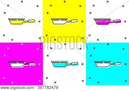 Set Frying Pan Icon Isolated On Color Background. Fry Or Roast Food Symbol. Vector