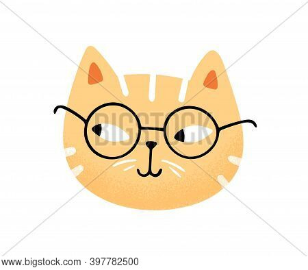 Muzzle Of Funny Cute Cat In Glasses Vector Flat Illustration. Portrait Of Clever Feline Character Is