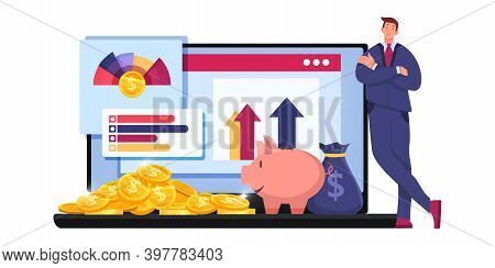 Finance Audit Tax Report Or Risk Analysis Business Vector Concept With Trader,laptop, Graphs. Econom