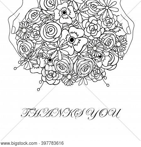 Thanks You Floral Banner. Flowers In Hand Monochrome Sketch For Web, For Print, For Coloring Page Ar