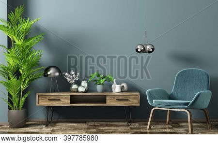 Modern Interior Design Of Living Room With Wooden Sideboard And Armchair Against Blue Wall, Home 3d