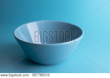 Blue Ceramic Bowl, Empty Bowl Or Cup Isolated On White With Clipping Path.