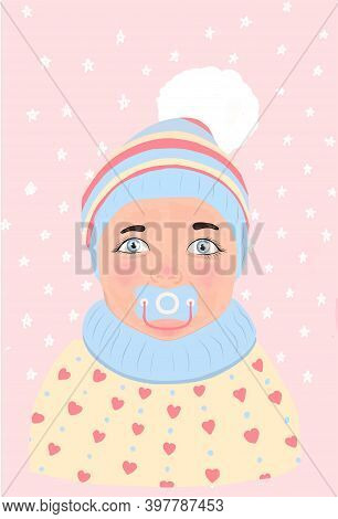 Pink Baby With Pacifier In Trendy Style On Soft Background. Trendy Vector Style. Trendy Retro Style.