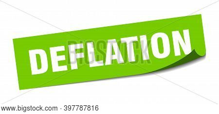 Deflation Sticker. Square Isolated Label Sign. Peeler