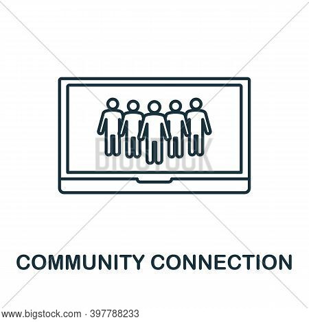 Community Connection Icon. Line Style Element From Community Management Collection. Thin Community C