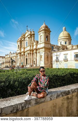Sicily Italy, View Of Noto Old Town And Noto Cathedral, Sicily, Italy. Beautiful And Typical Streets