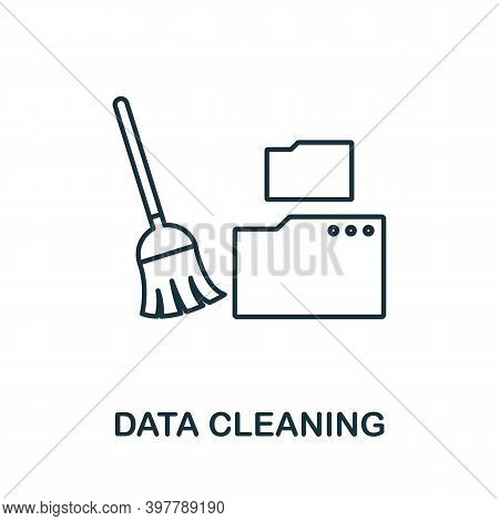 Data Cleaning Icon. Line Style Element From Data Organization Collection. Thin Data Cleaning Icon Fo