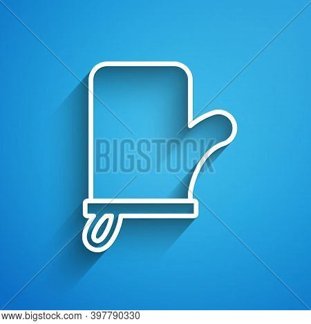 White Line Sauna Mittens Icon Isolated On Blue Background. Mitten For Spa. Long Shadow. Vector