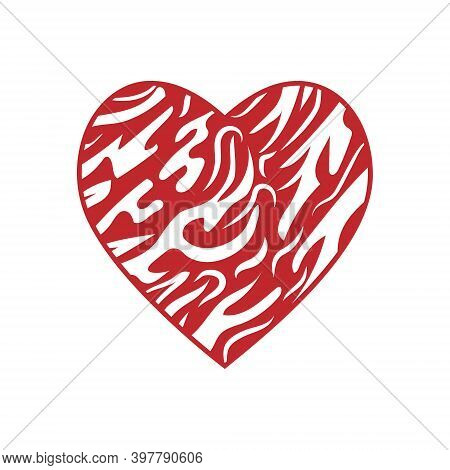 Red Heart With Striped Zebra Wool Pattern Abstract Love Symbol, Color Isolated Vector Illustration,