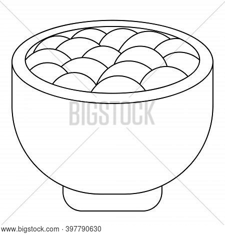 Mashed Potatoes In A Bowl. Delicious Chowder In A Plate. Vector Illustration. Outline On An Isolated