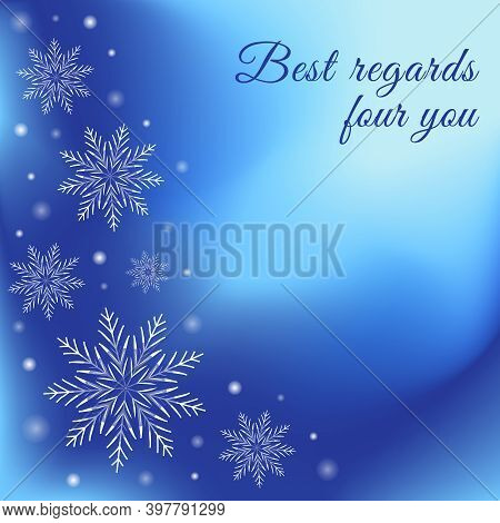 Winter Greeting Card. Blue Background With Snowflakes And Glowing Dots. Celebrations Vector Illustra
