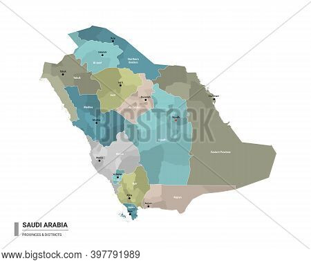 Saudi Arabia Higt Detailed Map With Subdivisions. Administrative Map Of Saudi Arabia With Districts