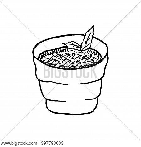 Vector Hand Drawn Creme Brulee. French Cuisine Dessert. Design Sketch Element For Menu Cafe, Bistro,