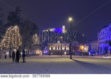 Ljubljana, Slovenia - December 2, 2020: Congress Square - Kongresni Trg - And View Of Slovenian Phil