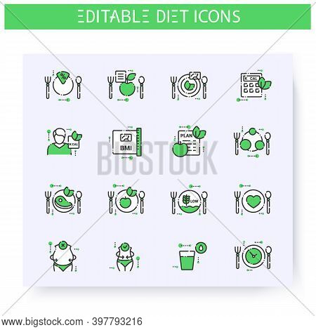Diet Line Icons Set. Calorie Count, Healthy Nutrition Concept. Slimming. Serving Size. Weight Loss.