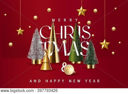 Merry Christmas And Happy New Year Sale Banner Background With Golden Stars And Christmas Tree Set.